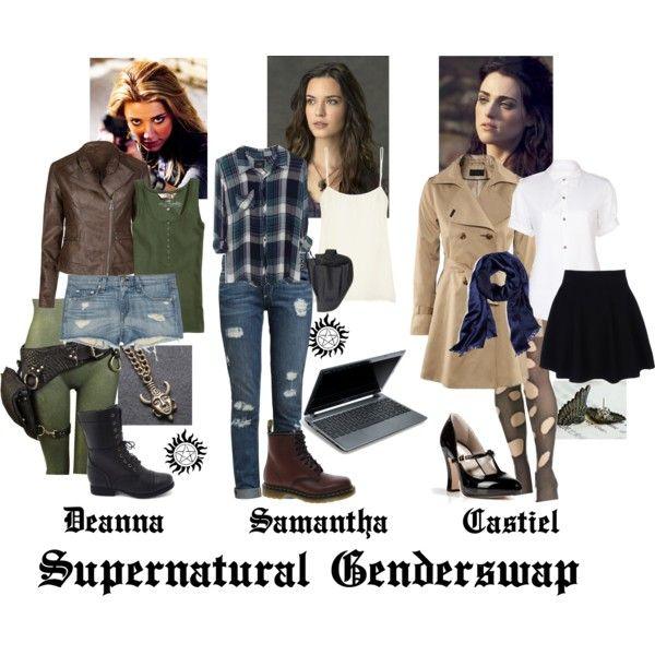 Supernatural Genderswap ~ Deanna (Dean), Samantha (Sam), and Castiel by alouette-cosette on Polyvore featuring Rails, Yohji Yamamoto + Noir, H&M, Equipment, Paige Denim, Theory, rag & bone, Charlotte Russe, Dr. Martens and Marc Jacobs