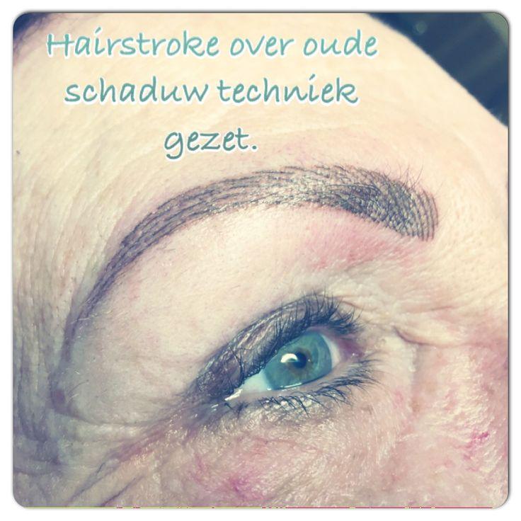 Hairstroke techniek over oude schaduw permanente make-up gezet. Voor meer informatie bel naar 076-5223838 of mail naar info@beautyvit.nl