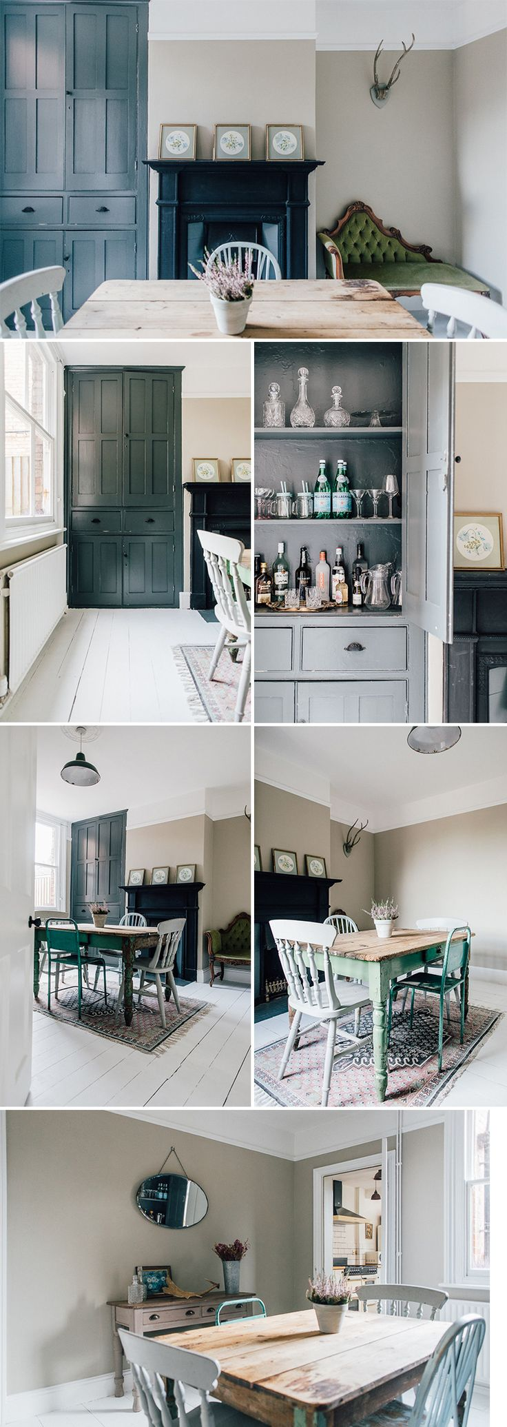 Alcove Cupboard | cupboard Bar Painted In Farrow And Ball | Light Dining Room In A Period Property | Dining room with Vintage Furniture | Vintage Distressed Table and Antique Chairs | Antique Decanter | Antique Chaise Longue | how to style a Mantle | Vintage Console Table | how to style Antlers