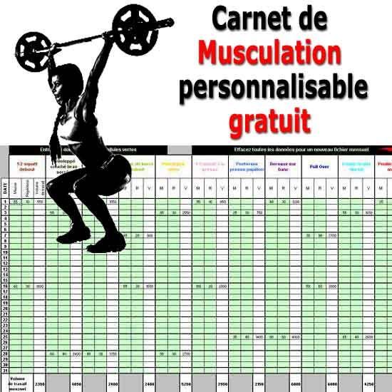 Carnet de Musculation gratuit et personnalisable sur Excel