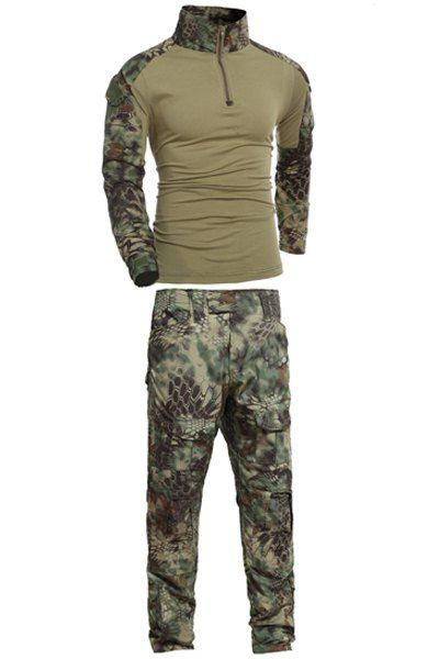 Men's Outdoor Half Zip Stand Collar Frog Camo Suits(T-Shirt +Pants) #women, #men, #hats, #watches, #belts