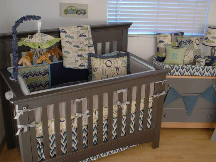 Retro Car Fabric And Chevron Crib Bedding Baby Boy