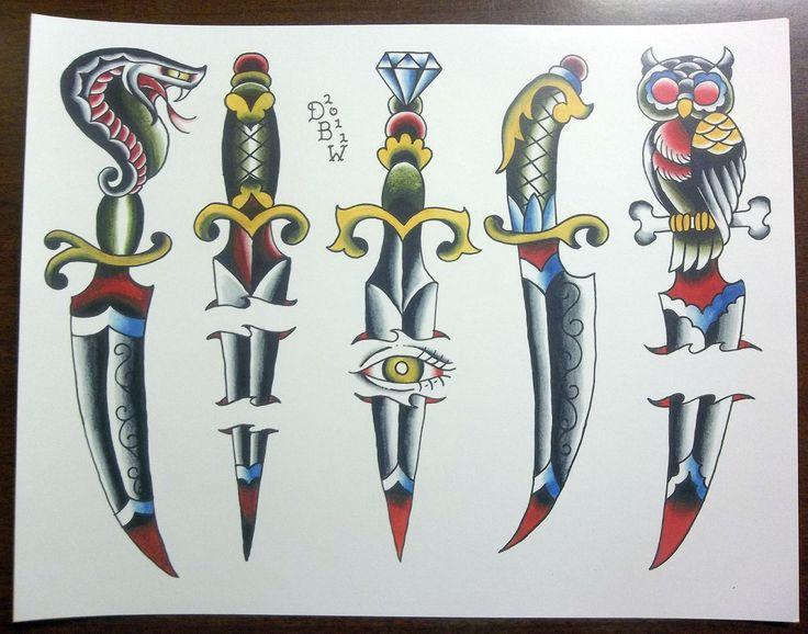 Daggers: Traditional Tattoo Flash Sheet. $10.00, via Etsy.