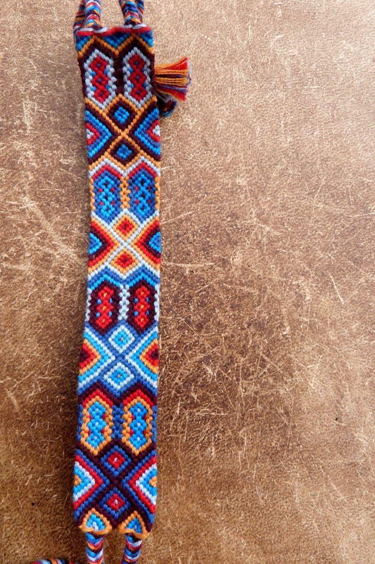 """Bracelet Brésilien """"Aztèque"""" bleu : Bracelet par noeud-par-nature"""