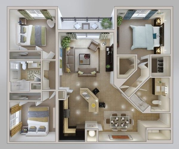 Working with a small space than some of the other designs in this round up, this three bedroom apartment still has all the trappings of a comfortable, modern home. A Jack and Jill bathroom makes a perfect option for siblings with the master bedroom has it's own bath and walk-in closet. The kitchen includes a breakfast bar as well as a dining area.: