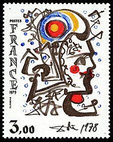 Une oeuvre originale de Salvador Dalí, un timbre datant de 1979.