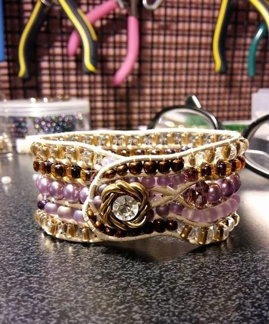 Bridal Beaded Cuff - Jewelry creation by It's A Wrap - Bracelets & More