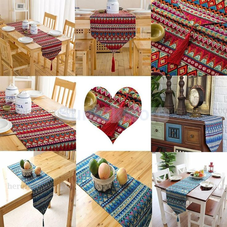 Red/Blue Ethnic Style Table Runner Bohemian Tassel Tablecloth Cover Mat 3 Sizes