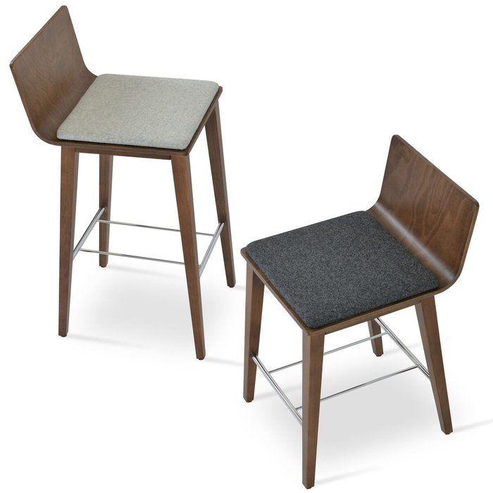 Corona is a contemporary stool with a molded plywood seat and available with seat pad. The legs are finished in solid beech walnut finish with a chrome foot rest. Corona wood stool is designed by sohoConcept team and it's suitable for both residential and commercial use.
