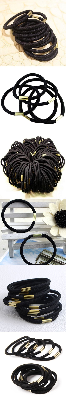 Hot 10Pcs Girls Black Elastic Hair Ties Band Rope Ponytail Holder Bracelets Scrunchie 77IF