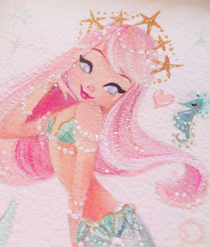 Pastel Princess  #gouache #mermaid #painting                              …