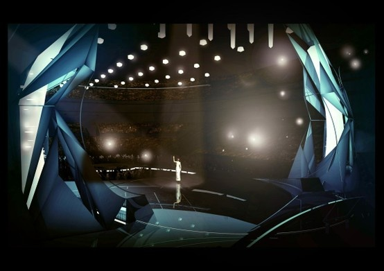 Here's the stage of Eurovision 2013!  Like SVT told previously, huge LED screens aren't part of this year's contest and new innovations will be seen in May. The audience will also be standing around the stage to make the audience look lively.  The stage is designed by Viktor Brattström and Frida Arvidsson.