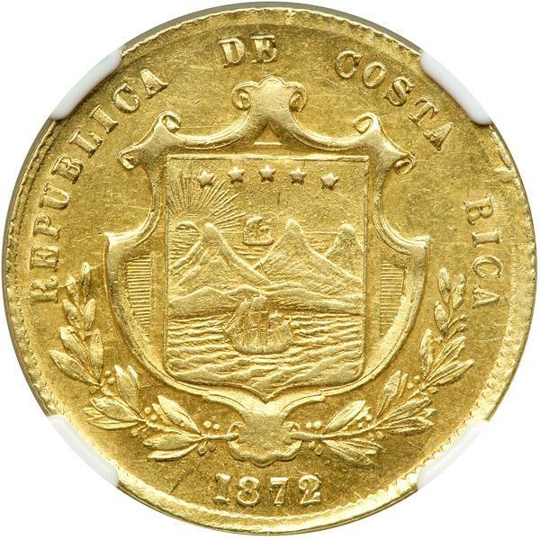 Costa Rica 10 Pesos 1872 Gw Ngc Ef45 Fr 11