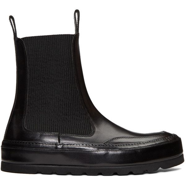 Ann Demeulemeester Black Leather Chelsea Boots (7,115 CNY) ❤ liked on Polyvore featuring men's fashion, men's shoes, men's boots, black, mens leather shoes, mens round toe cowboy boots, mens leather chelsea boots, mens black leather boots and ann demeulemeester mens shoes