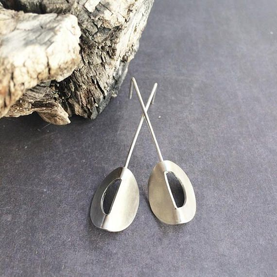 Sterling silver stud earrings  long stud earrings  geometric. Handmade by Carla Amaro