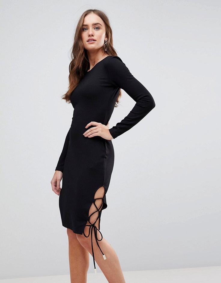 FINDERS KEEPERS WESTON LONG SLEEVED BODYCON DRESS - BLACK. #finderskeepers #cloth #