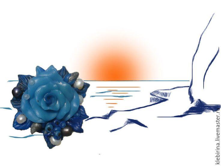 Купить Брошь Морской стиль - голубой, морская тема, морской стиль, морской пейзаж, море