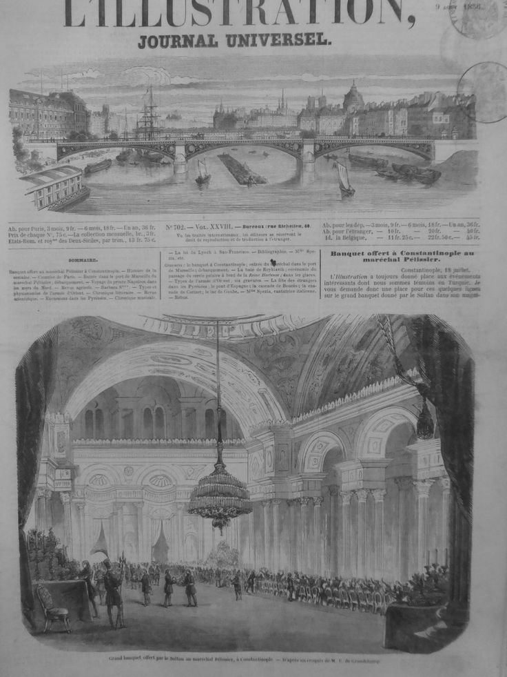 1856 I0908 TURQUIE CONSTANTINOPLE BANQUET MARÉCHAL PÉLISSIER HONNEUR SULTAN   Livres, BD, revues, Revues, Histoire et politique   eBay!