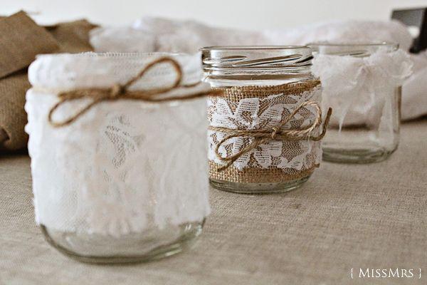 La boda de X   D: Tarros de vidrio decorados por nosotros mismos