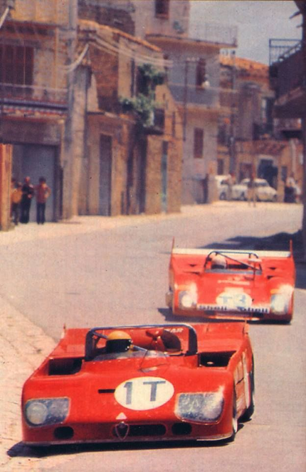 1972 Targa Florio Nani Galli in the Alfa Romeo T33-TT-3 in front of Arturo Merzario in the Ferrari 312PB