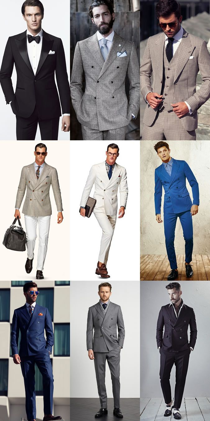Men's Peak-Lapelled Blazers and Suits Outfit Inspiration LookbookFrom Left: SARAR SS14, Luigi Bianchi Mantova AW14, Louis Copeland 2014, Suitsupply SS15, Dolce  Gabbana Summer 2014, Louis Copeland 2014, Tommy Hilfiger Tailored AW14. #mens #fashion
