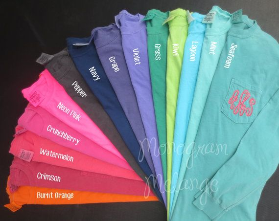 These super soft and comfy Comfort Colors brand long sleeve shirts are perfect for hanging out on cool crisp days. Your monogram initials will be