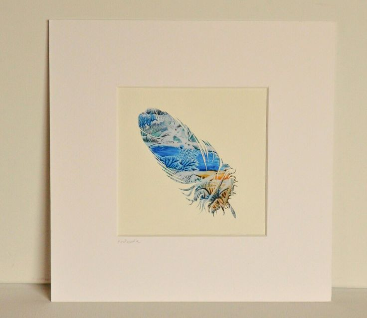 Feather cut silhoutte with Encaustic wax painted background by Moo Doodle https://www.facebook.com/moodoodle15