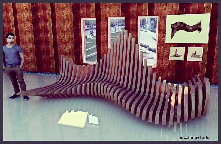 My last render #parametric #design #modeling #chair #render #exhibit #wood