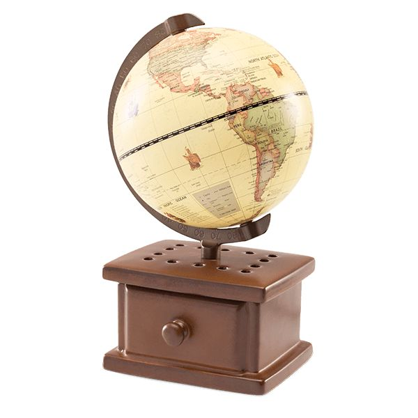 Go global from the comfort of home with this distinguished warmer, complete with a real map of the world and boatloads of vintage cool.
