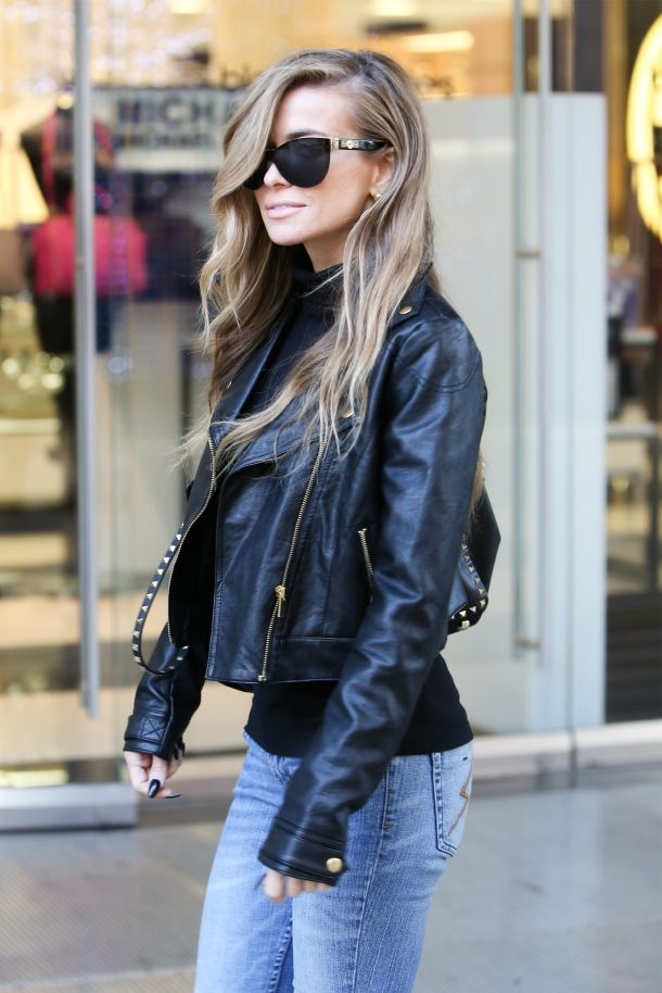 Carmen Electra leather jacket