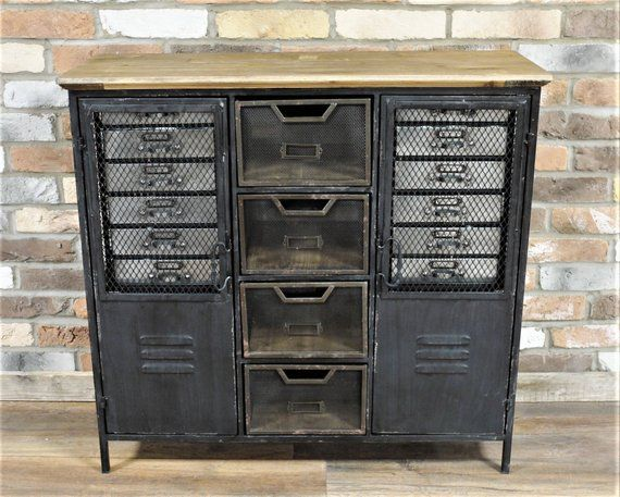 Wooden Top Industrial Factory Cabinet In 2020 Vintage Industrial