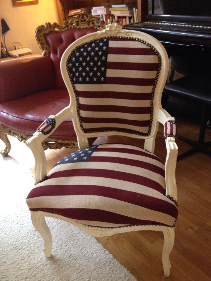 Stoel met Amerikaanse Vlag