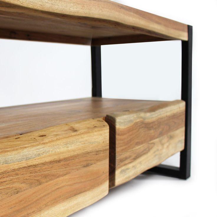 Meuble tv style tronc arbre pieds m tal 2 tiroirs buffet meuble tv pied metal et buffet bois - Meuble tronc arbre ...