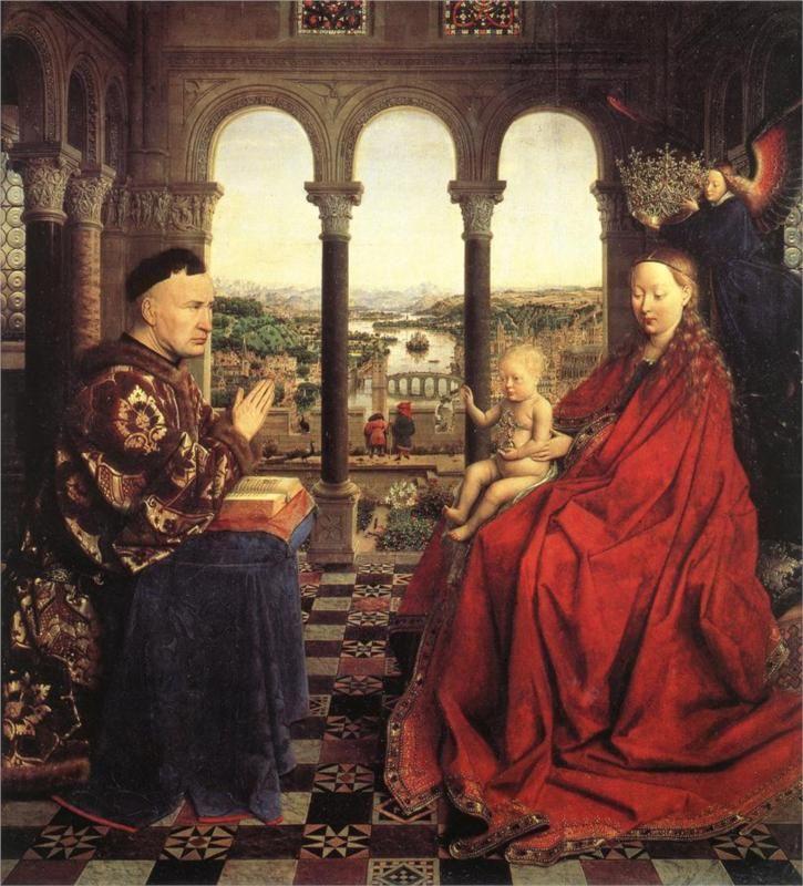 Jan van Eyck, The Madonna of Chancellor Rolin, 1435 {everyone looks like Putin, even the baby}