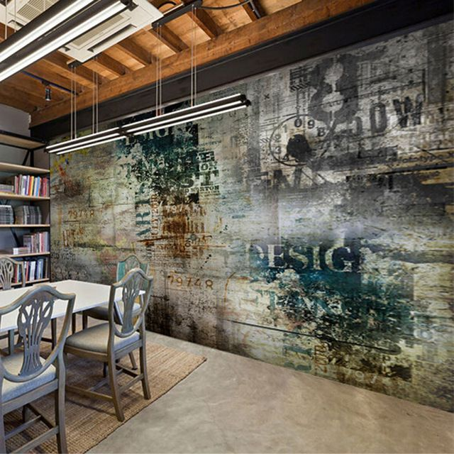 Self-adhesive Wallpaper Retro Nostalgia Graffiti Murals Living Room Bedroom Modern Abstract Background Mural