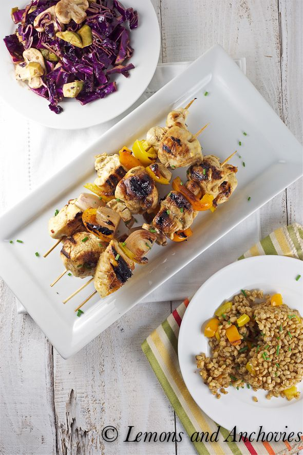 Rum and Citrus Chicken Kabobs with Stir-Fried Barley - Love this!  via @Jean | Lemons and Anchovies