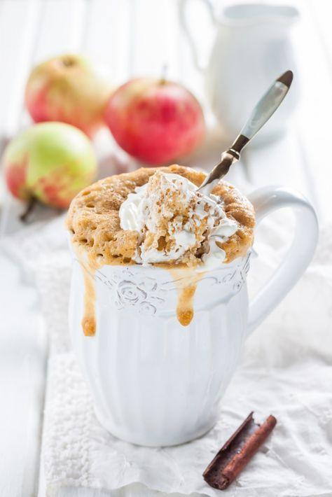 Яблочный кекс с корицей в кружке, ссылка на рецепт - https://recase.org/yablochnyj-keks-s-koritsej-v-kruzhke/  #Десерты #блюдо #кухня #пища #рецепты #кулинария #еда #блюда #food #cook