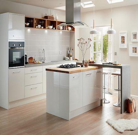B&Q Cooke & Lewis Raffello High Gloss White Slab Kitchen. Kitchen-compare.com - Home - Independent Kitchen Price Comparisons
