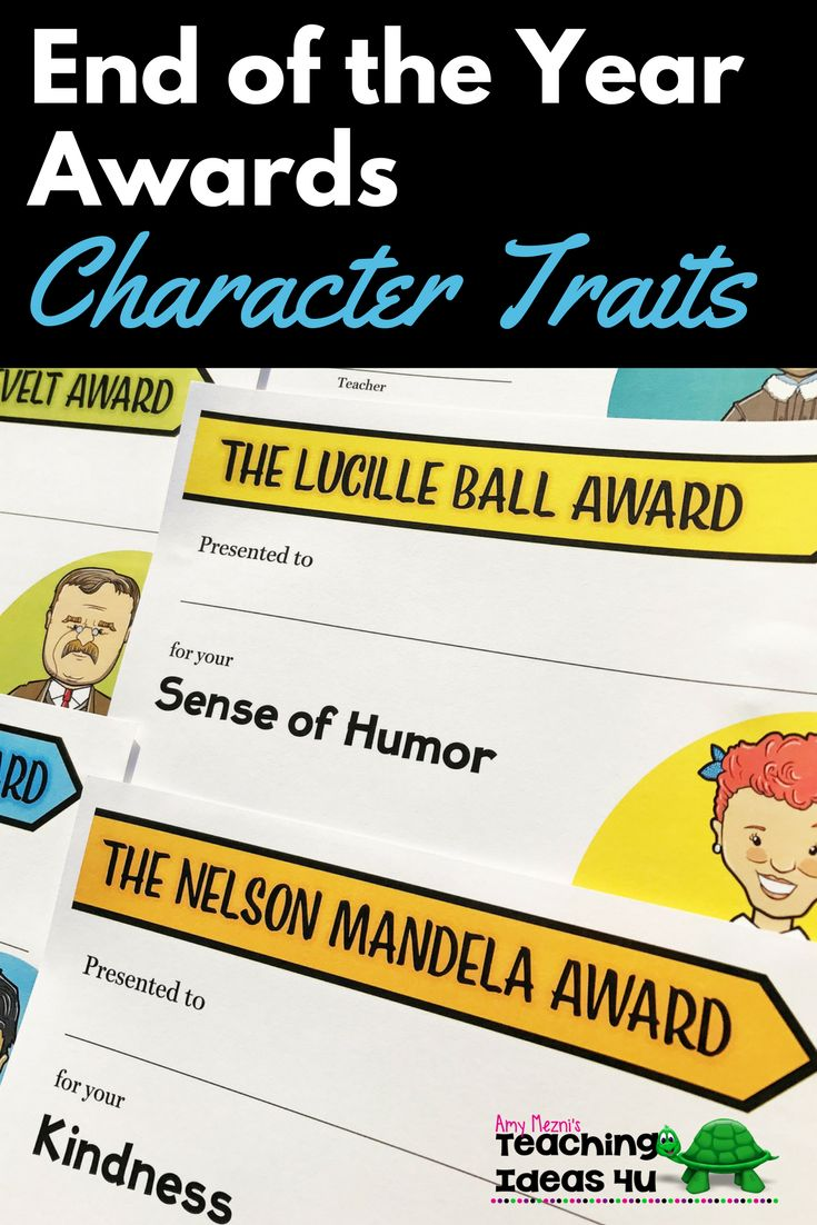 Are you looking for award ideas to celebrate your students' positive character traits? These End of the Year Awards include 40 different certificates featuring notable people primarily from American history. The people featured include a diverse selection of 20 women and 20 men. Each certificate pairs a person with a character trait. For example, Eleanor Roosevelt represents Caring.  These awards would be great for use in both classrooms and organizations such as the Boy and Girl Scouts. $