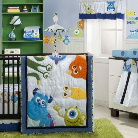 MONSTERS, INC. 4-Piece Premier Crib Bedding Set. If Eric and I end up having a little boy in the far future, this is definitely happening!!!