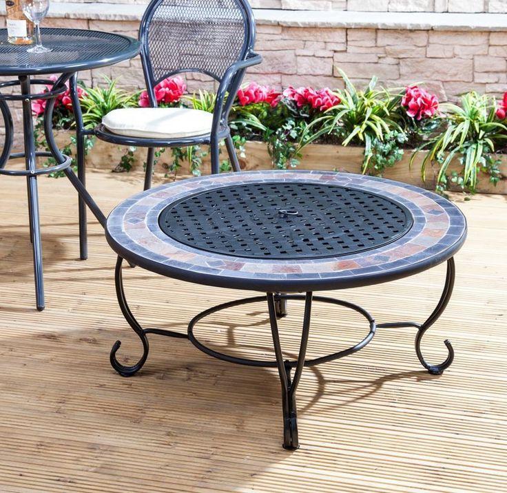 Round Table Fire Pit Patio Heater Burner BBQ Garden Outdoor Brazier Bowl  Grill