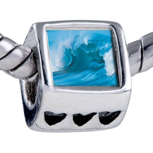 Pugster Cresting Blue Wave Beads - Biagi Bead & Bracelet Compatible Pugster. $12.49. Unthreaded European story bracelet design. It's the photo on the heart charm. Fit Pandora, Biagi, and Chamilia Charm Bead Bracelets. Bracelet sold separately. Hole size is approximately 4.8 to 5mm