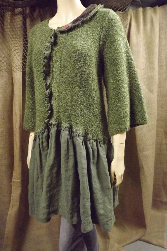 Lagenlook Tunic Ruffled One Size Emerald by bluemermaiddesigns Good idea for cashmere and linen