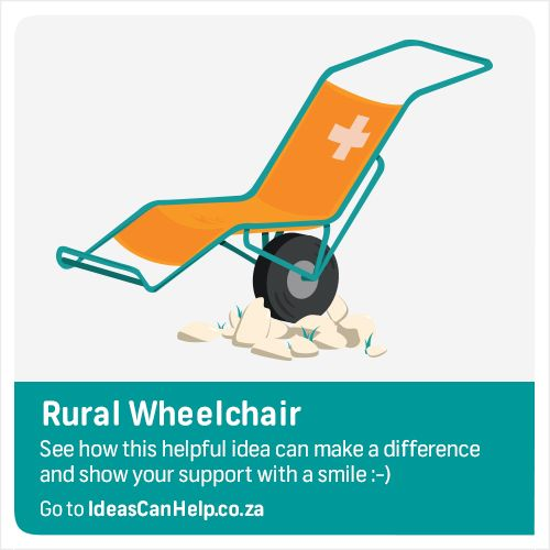 Rural Wheelchair is designed to assist and transpirt ill people from their homes to their local clinics. The wheelchair was built to cope with uneven terrain and narrow footpaths on hillsides. http://www.blog.fnb.co.za/ideas-can-help/view-idea/?id=3492