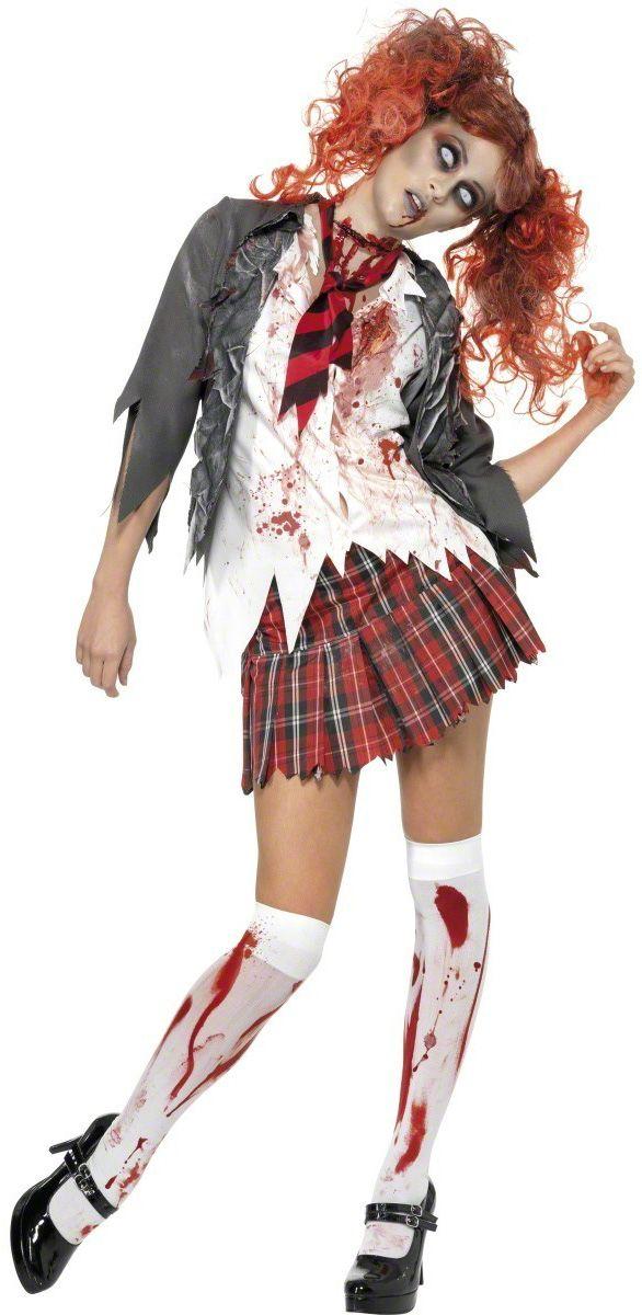 Déguisement écolière zombie Halloween femme : Ce déguisement d'écolière zombie pour Halloween se compose d'une veste de costume dentelée avec un chemisier blanc intégré qui se ferme à...