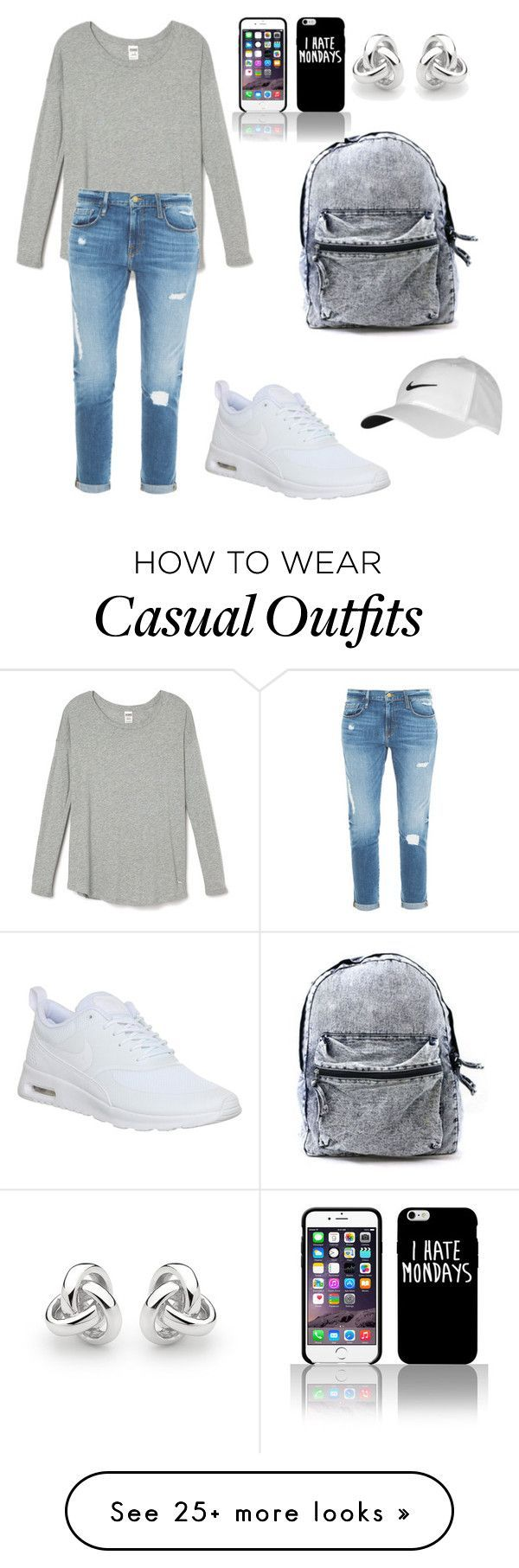 """Casual"" by bubbiytae on Polyvore featuring NIKE, Frame Denim and Georgini"