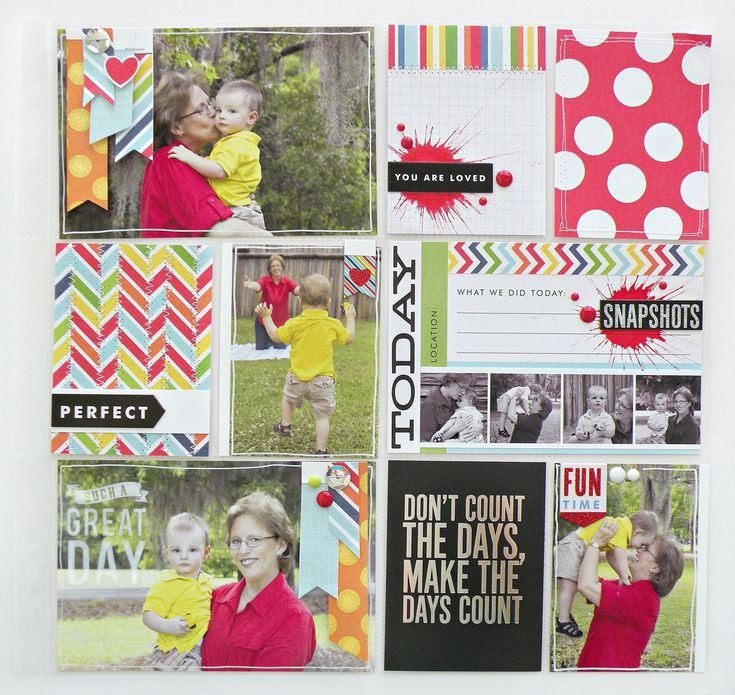 Great me & my BIG ideas POCKET PAGES scrapbook layout.  Primary polka dots and stripes.  Stitched and just perfect, even has mambiCHIPS embellishments.  PL layout is so cute!