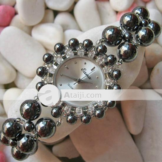$30.99 sólo el EANA hematite Pulsera Relojes de pulsera de cuarzo para mujer | watches.weddingjewelrysupplies.com