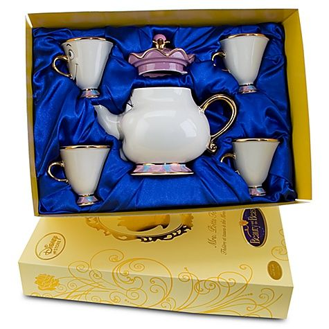 I dream of one of these: Be our guest and drink in the charm of Beauty and the Beast with this collectible Limited Edition Mrs. Potts Tea Set. Beautifully crafted in fine china and trimmed in 24-kt. gold, this fun and functional tea set will bring memories pouring back. AHHHH I totally want this for my china cabinet ^_^