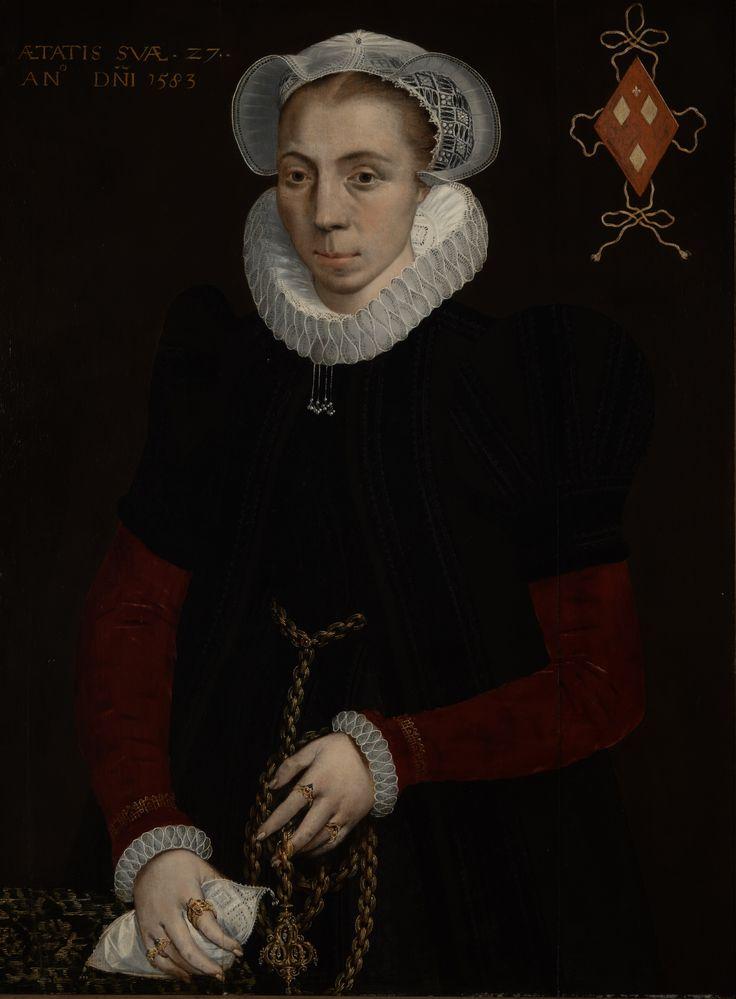 (Toegeschreven aan) Isaac Claesz. van Swanenburg, Portret van Anna van Heussen (1583) Collectie Museum De Lakenhal